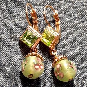 3 for $25- Lime Green Gem & Glass Bead Earri